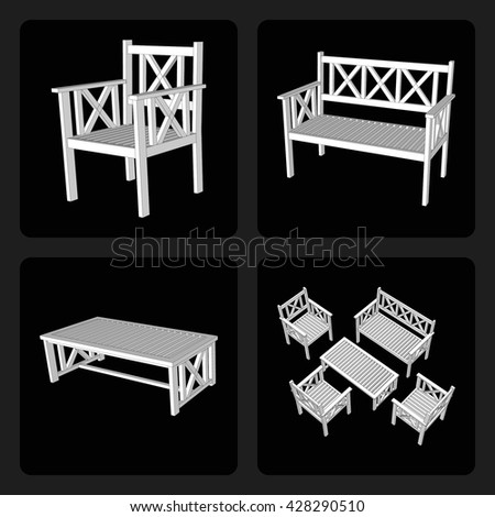 Street summer furniture for cafes and homes. Set of furniture 3d on a black background. Flat style. Vector illustration.