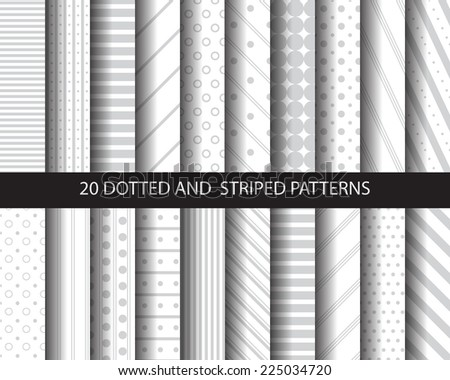 20 striped and dotted seamless patterns, vector, Textures for wallpaper, fills, web page background, surface.  - stock vector