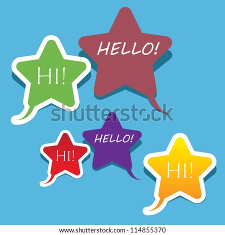 style star speech bubbles set. vector abstract vintage background. - stock vector