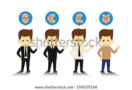 4 Styles business man and currency symbols - stock vector