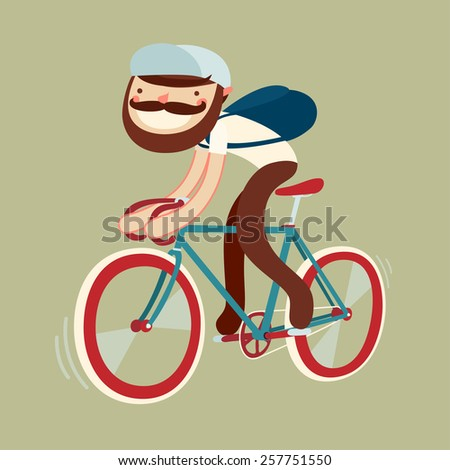 stylish character on bike. bicycle rider with beard. vector illustration - stock vector