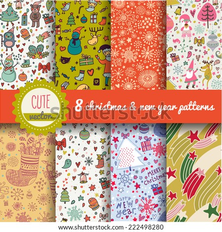 8 stylish holiday seamless patterns. New year and Christmas backgrounds set in vector - stock vector