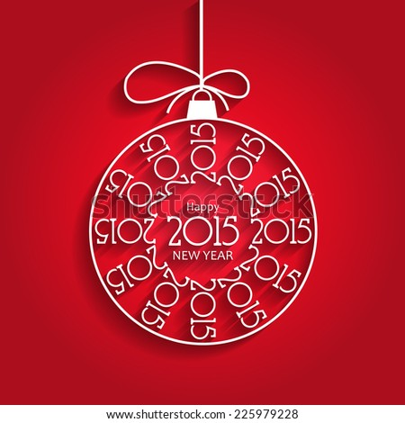 Stylish New Year 2015 Ornament Design with Shadows - stock vector