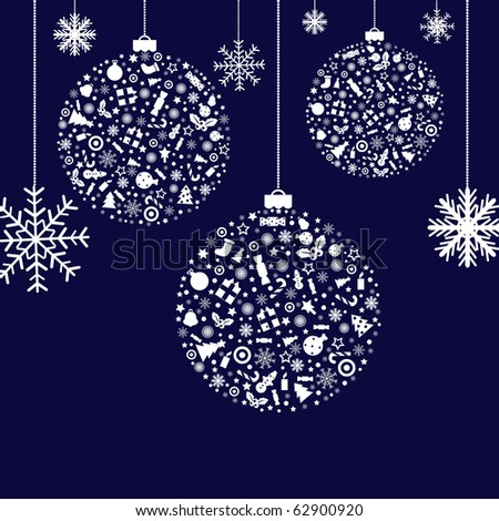 3 Stylized Christmas Balls, On Blue Background, Vector Illustration - stock vector