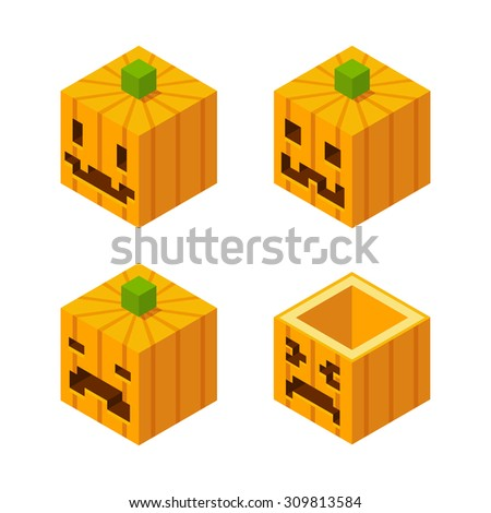 4 Stylized cubic Halloween Jack o' Lantern carved pumpkins with pixel faces. - stock vector