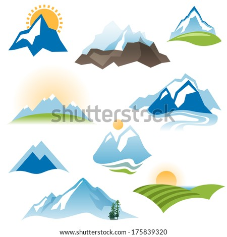 9 stylized landscape icons over white background - stock vector