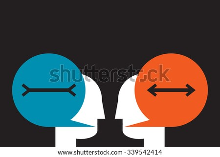 subjectivity: two people differently assessing the same value - stock vector
