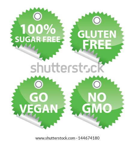 100 % sugar free, Gluten free, Go vegan and no GMO sticker set. Vector Illustration - stock vector