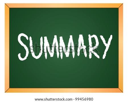 """""""summary"""" word written on chalkboard - stock vector"""