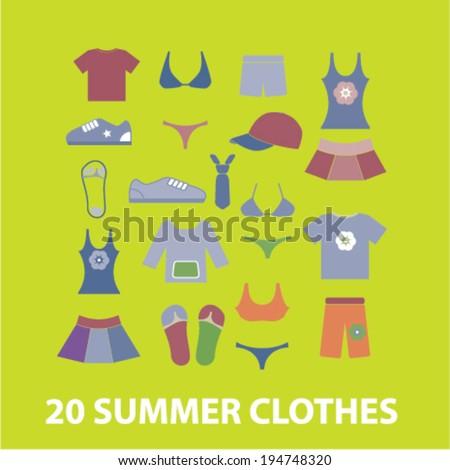 20 summer clothes icons set, vector - stock vector