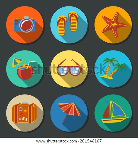 Summer holidays flat icons set with long shadows - coconut cocktail, fish star, slippers, palms, suitcase,beach umbrella,yacht,sun glasses, photo camera.