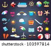 30 Summer Icon Set Vector Design - stock vector