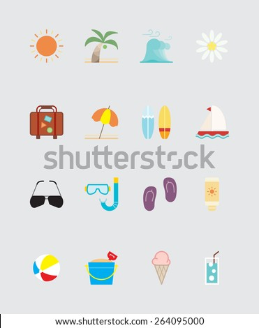 16 Summer icons color - stock vector