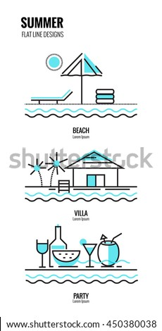 Summer on the beach.  flat thin line design. vector illustration - stock vector