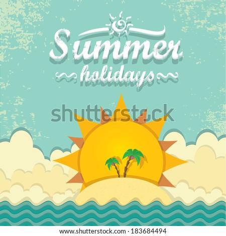 summer paradise beach background . vector cut paper summer illustration. summer holiday. - stock vector