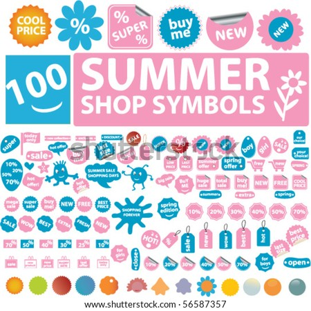 100 summer shop symbols. vector - stock vector