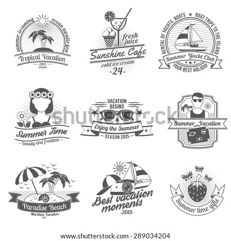 Summer time and vacation with beaches cafes and yacht club black white labels set flat isolated vector illustration - stock vector