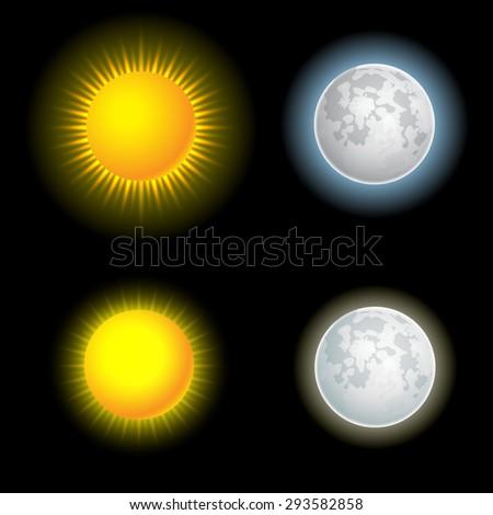 Sun and moon vector set - stock vector