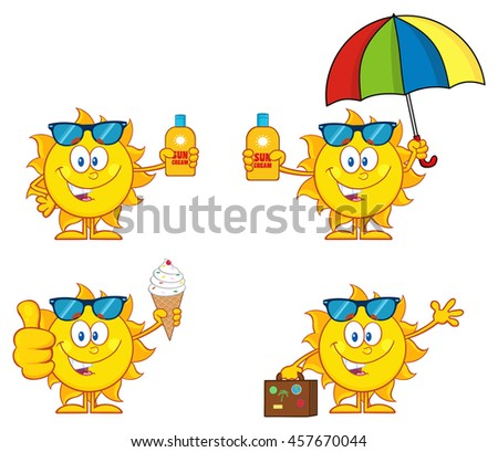 Sun Cartoon Mascot Character 1. Set Vector Collection Isolated On White Background - stock vector