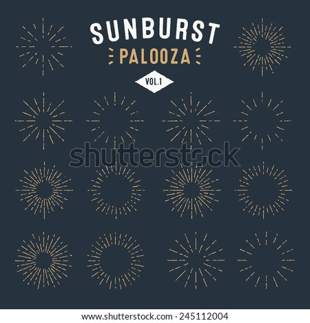 'Sunburst Palooza' Set of Retro Sun burst shapes for your next vintage design project | Collection of Sun ray frames vector design elements | Handmade quality illustration | Volume 1 - stock vector