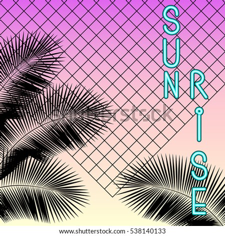Sunrise Vintage Neon Signboard Palm Leaf Silhouettes On A Gradient Background Sunset