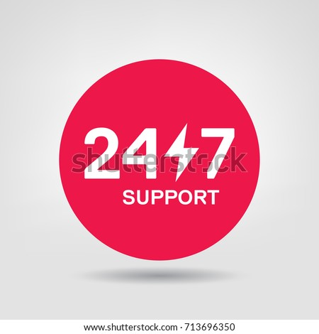 24 7 support vector icon 24h online service red circle design element vector