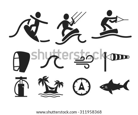 Surfing flat icon - stock vector