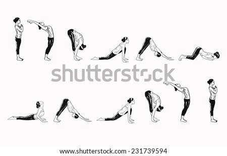 Suria Namaskar - Sun Salutation Complex Of Yoga Asanas - stock vector