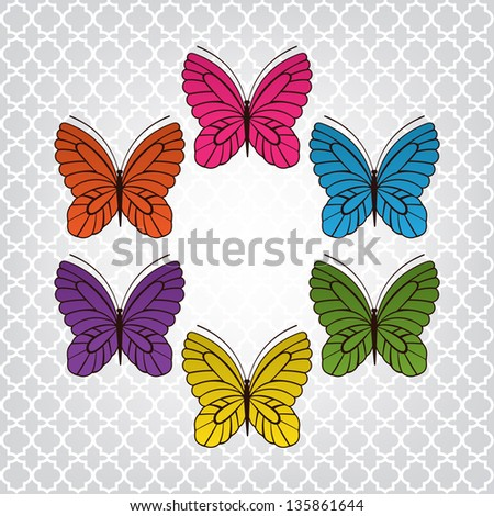 Surround of beautiful butterflies over pretty background pattern