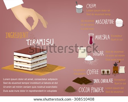 sweet colorful info-graphic beautiful design of tiramisu cake ingredient that consist of cream,mascarpone,marsala,sugar,coffee,dark chocolate and cocoa powder,dessert design concept - stock vector