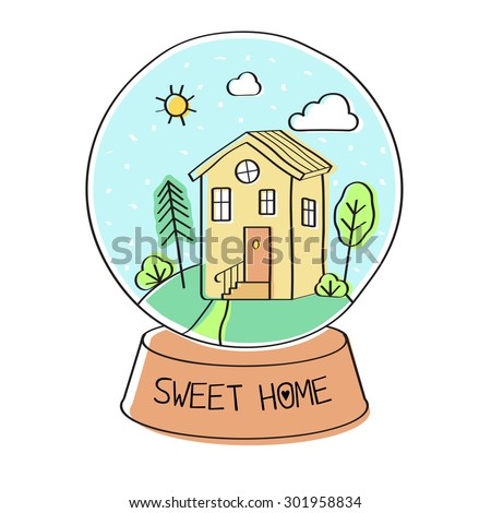 Sweet home. Vector abstract illustration of a snow globe with a home inside - stock vector