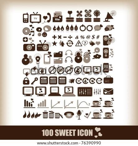 100 sweet icon - stock vector