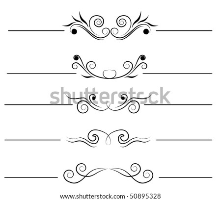Swirl elements and monograms for design - stock vector