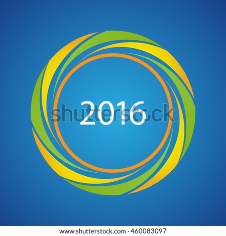 2016 symbol with Brazilian flag colors, vector