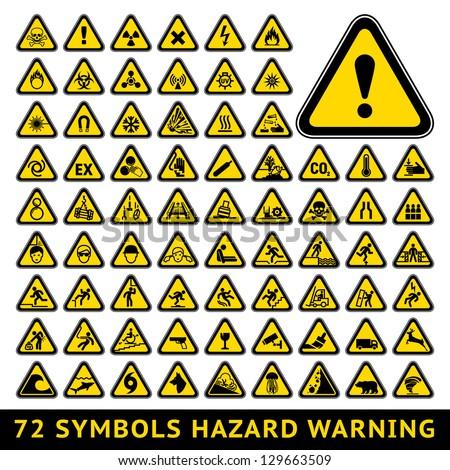 72 Symbols Triangular Warning Hazard Big Stock Vector 129663509