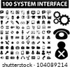 100 system interface & administration icons set, vector - stock photo