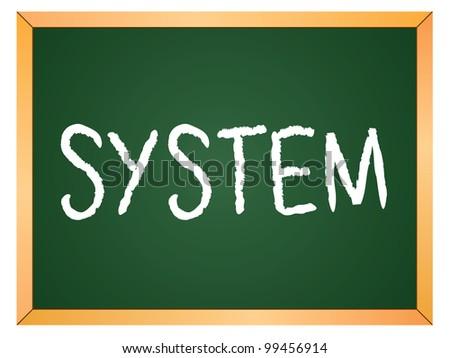 """system"" word written on chalkboard - stock vector"