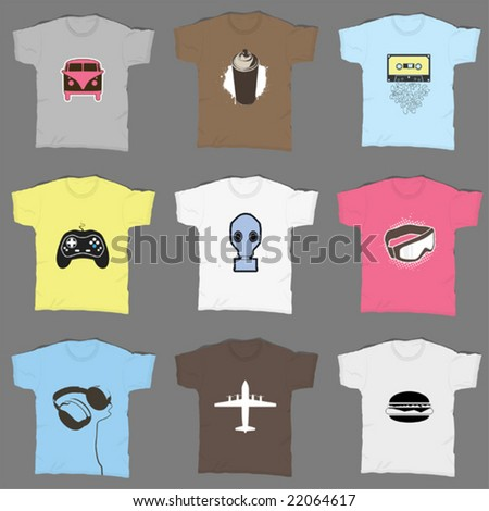 9 t-shirt designs - stock vector