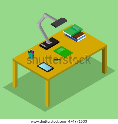 Table with books,  lamp, the tablet. Student workplace. 3D isometric vector concept illustration in flat style.