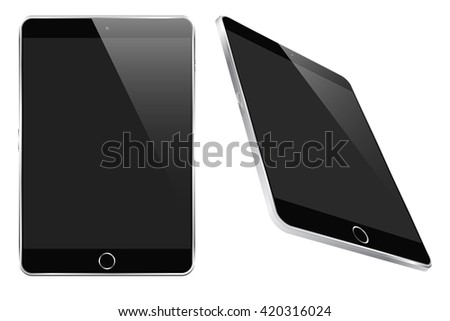 Tablet (mock up) with full-width display and metal frame with straight lines and flat front and back isolated on white for designs, apps, icons, logos, backgrounds
