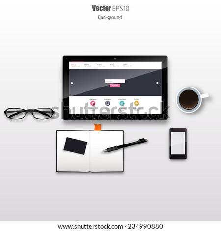 Tablet on Desk Still Life Realistic Vector - stock vector