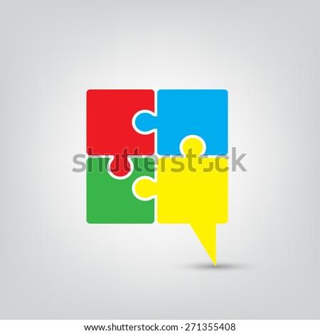 Talk chat icon speech bubble puzzle vector illustration - stock vector