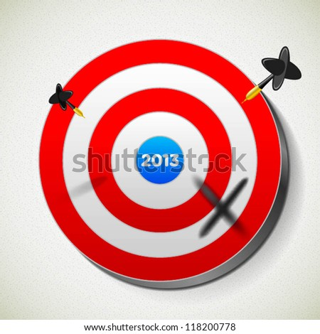 2013 target dartboard and darts - stock vector