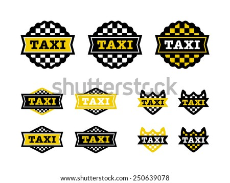 11 Taxi button, badges and shields. Ready for print or web. - stock vector