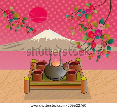 Tea ceremony.Menu .mountains. - stock vector