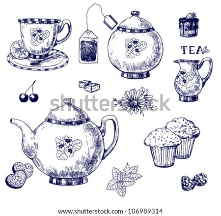 Tea set, hand-drawn illustration - stock vector
