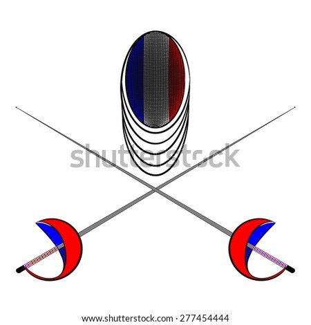 Team France. Sports fencing protective mask  with the image of a flag of France and a sword to attack. The symbol for fencing of  France. - stock vector