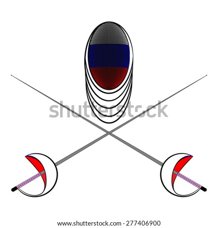 Team Russia. Sports fencing protective mask  with the image of a flag of Russia and a sword to attack. The symbol for fencing of Russia. - stock vector