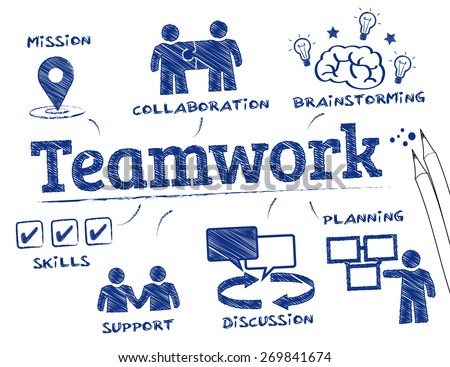 Teamwork concept. Chart with keywords and icons - stock vector
