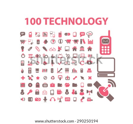 100 technology, communication, connection isolated icons, signs, illustrations for web, internet, mobile application, vector - stock vector